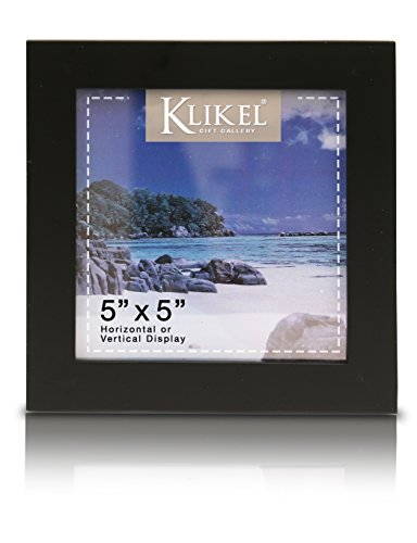 Klikel 5 X 5 Black Picture Frame - Made of Real Wood with Glass Photo Protector - Wall Hanging and Table Standing Display