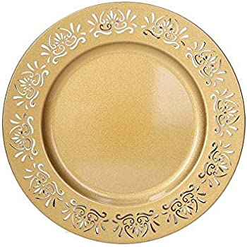 33.5x33.5x2 cm Trasparente//Bordo Oro Excelsa Gold Sottopiatto