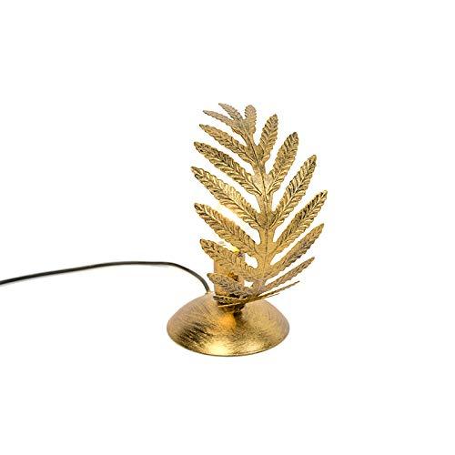 QAZQA - Retro Vintage Tischleuchte | Tischlampe | Lampe | Leuchte klein Gold | Messing - Botanica | Wohnzimmer | Schlafzimmer - Metall Andere - LED geeignet E14