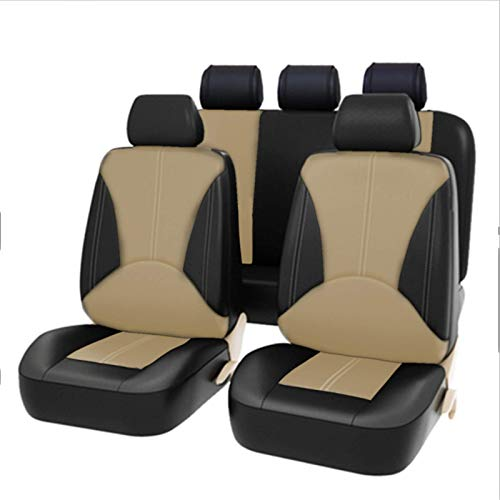 EET Car Seat Cover Environmental Protection PU Leather Fashion Optics Universal Car Seat Covers Set for Summer & Winter Front Seats And Rear Bench 9-Piece Set,beige black
