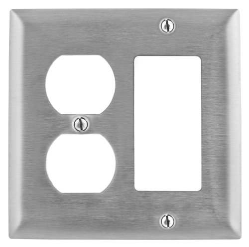 Bryant Electric SS826 Metallic Wallplate, 2-Gang, 1 Duplex 1 Decorator/GFCI Openings, Standard Size, 302/304, StainlessSteel, With Removable White Protective Film