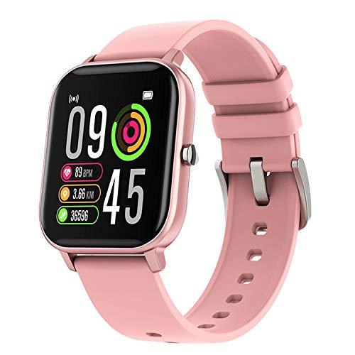 TYOP Reloj Inteligente, Pantalla de 1.4 Pulgadas, Rastreador de Fitness, Pulsera de Pedómetro Deportivo, Pulsador de Mensajes, Recordatorio Inteligente, IP67 Waterpoo, 170mAh (Color : Pink)