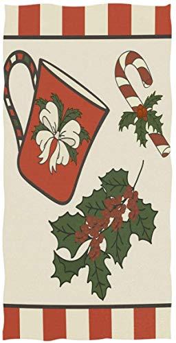 Taza folclórica Holly Twig Berries Candy Cane Ultra Suave 27.5'x15.7' Toalla de Cara Suave Absorbente Toalla de baño de Cocina para el hogar Toalla para Invitados