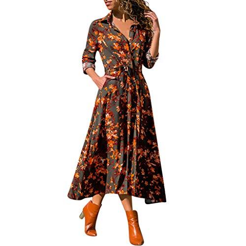 Longra Invierno Otoño Paño Mujeres Flor Elegantes Vestidos de Verano Europeos y Americanos Imprimir Cuello en V Manga Larga Vestido