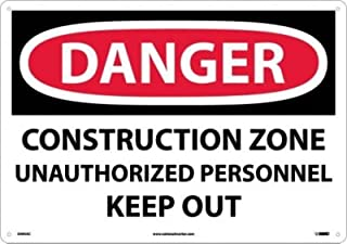 """NMC D493AC OSHA Sign, Legend """"DANGER - CONSTRUCTION ZONE UNAUTHORIZED PERSONNEL KEEP OUT"""", 20"""" Length x 14"""" Height, Alumin..."""