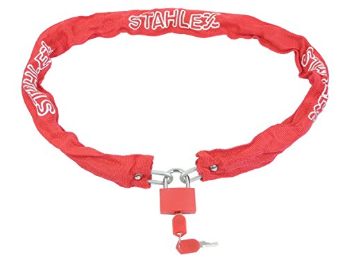 STAHLFLEX fiets kettingslot, met hangslot (rood)