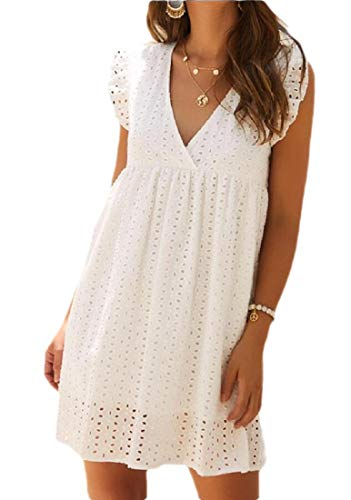 GenericC Women's Lace Embroidery Hollow out V Neck Ruffles Cap Sleeve Elegant Casual Babydoll...
