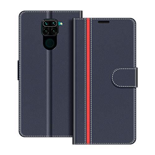 COODIO Handyhülle für Xiaomi Redmi Note 9 Handy Hülle, Xiaomi Redmi Note 9 Hülle Leder Handytasche für Xiaomi Redmi Note 9 Klapphülle Tasche, Dunkel Blau/Rot