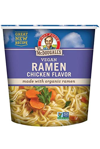 Dr. McDougall's Right Foods Ramen Chicken Soup with Noodles, 1.8 Ounce Cups (Pack of 6) Non-GMO, No Added Oil, Made w/ Organic Steamed Noodles, Paper Cups From Certified Sustainably-Managed Forests