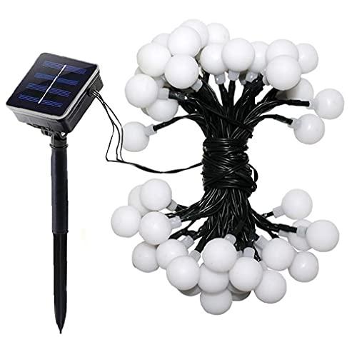 XKJFZ Bola Secuencia del LED LED a Prueba de Agua con energía Solar Luz de Navidad Decoración de Jardín Dormitorio Blanco 12M, Luces solares del jardín