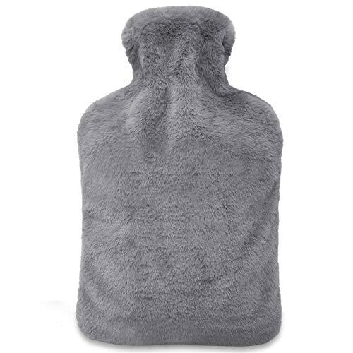 FUMUM Premium Wärmflasche mit Bezug, Weich Wärmflasche Klassik 2L mit Plüsch-Bezug,kein Geruch und Frei von Schadstoffen Bettflasche Wärmflasche für Erwachsene Eltern Kinder (Grau)