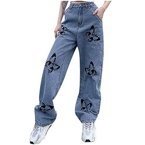 LianMengMVP Neu Damen Hohe Taille Jeans Hose High Waist Boyfriend Lässig locker Jeans Hose Lose, schmale Schmetterlingsmuster mit schmalem Schmetterlingsdruck und hoher Taille