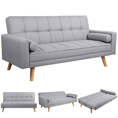 Yaheetech 3 Seater Fabric Sofa Bed Click Clack Modern Sleeper Sofa Settee with Cushions for Living Room/Guest Room,Grey