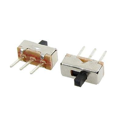 DealMux a12013100ux0116 High Knob 3P 2 Position 1P2T SPDT Vertical Slide Switch, 0.5 Amp, 50V DC, 50 Piece, 3 mm