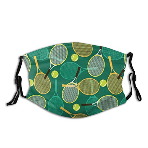Tennis Rackets and Balls,Face Mask Reusable Washable Masks Cloth for Adult
