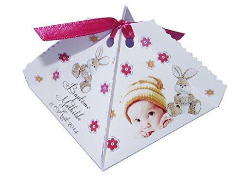 lot de 4 Boîte à dragées DOUDOU FLORETTE personnalisée avec votre photo et votre texte pour baptême couleur fudchia et jaune - ballotin à dragées design et moderne