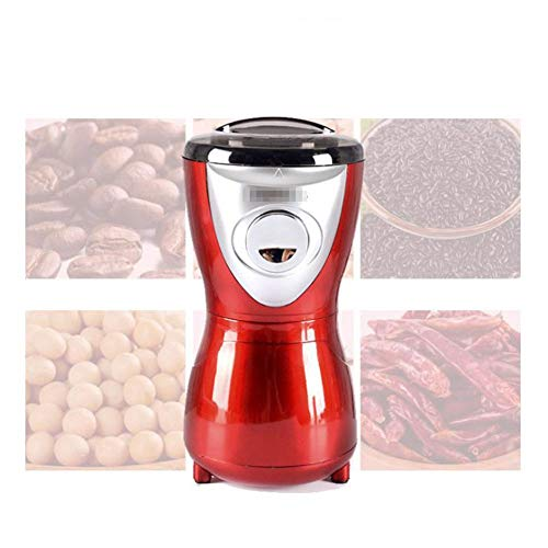 Professionelle kaffeemühle elektrische rote haushalt kleine mühle kaffeebohne getreidemühle für gewürz, nüsse, samen, kräuter 50g edelstahl klinge 200w