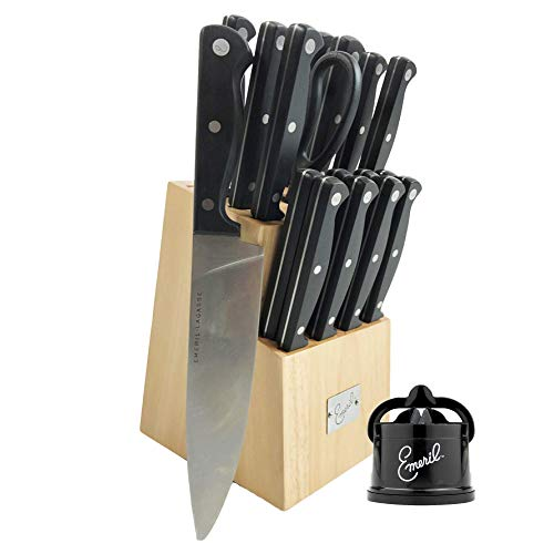 Emeril 18-Piece Knife Block Set  Tungsten Carbide Knife Sharpener with Suction Pad Black - Emeril Lagasse Cutlery Set with Stainless Steel Blades - Perfect Kitchen Knives for Produce and Sandwiches
