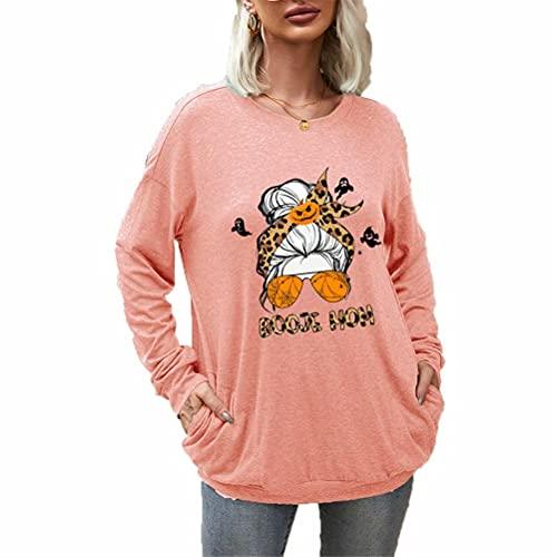ZFQQ Camiseta de Manga Larga con Estampado Multicolor de Tema Casual de Halloween para Mujer de otoño e Invierno