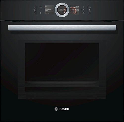Bosch HNG6764B6 Serie 8 Einbau-Backofen mit Mikrowellen- & Dampffunktion / 67 L / 1 L Wassertank / 800 W / Schwarz / Klapptür / TFT-Display / 14 Beheizungsarten / Bosch Assist / Pyrolyse /Home Connect