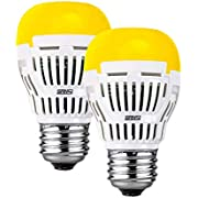 SANSI Yellow LED Bulb, 8W 2700K Outdoor Porch Lights, Non-dimmable, 650lm E26 Outdoor Light Bulb Amber Bedroom Night Light Bulb for Festival Decoration Porch Yard Hallway, 2 Pack