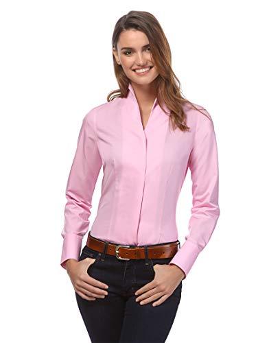 Vincenzo Boretti Damen Bluse mit Kelchkragen leicht tailliert 100% Baumwolle bügelleicht Langarm Hemdbluse mit Stehkragen elegant festlich auch für Business pink 38