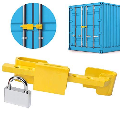 Invero Containerschloss für LKW und Anhänger – Hohe Sicherheit, gehärteter Stahl Türschloss mit Sicherheitsstufe, Vorhängeschloss und 4 Schlüssel im Lieferumfang enthalten
