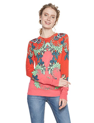 Desigual Damen JERS_CRISTICUCHI Pullover, Orange (Deep Sea Coral 7062), Large