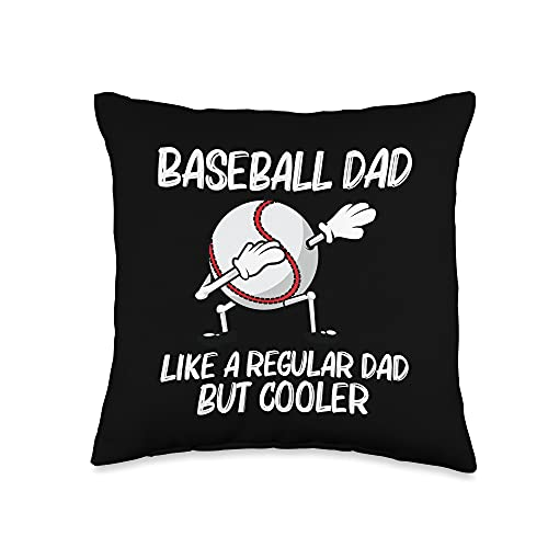 Funny Baseball Gifts Homerun Player Theme Clothing Cool Baseball for Dad Papa Pitcher Bat Ball Softball Sports Throw Pillow, 16x16, Multicolor