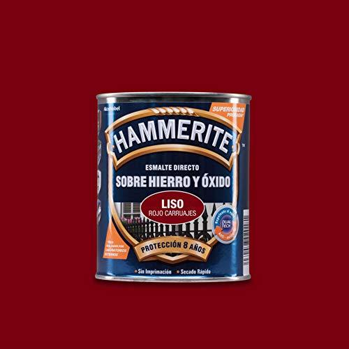 Hammerite Esmalte directo sobre hierro y óxido Liso Brillante Rojo Carruaje 750 ml