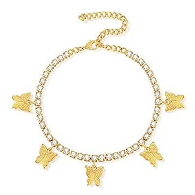 Fesciory Butterfly Ankle Bracelets for Women, 14K Gold Adjustable Tennis Anklet Alloy Foot Chain Jewelry Girls