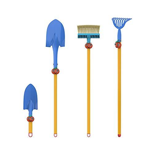 SUNORGREEN Red Tomato Kid's Garden Tool Set of 4, Soil Rake, Garden Spade, Soil Shovel and Push Broom by Safety Approved