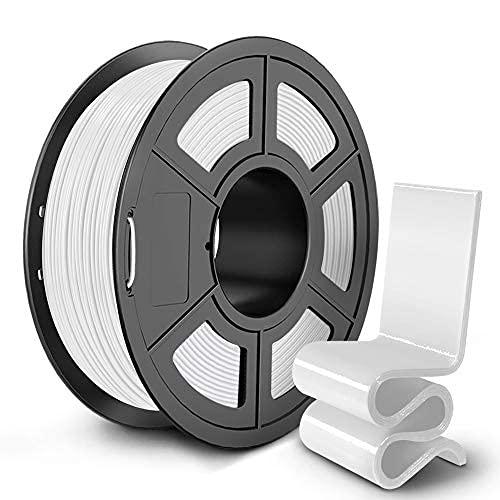 SUNLU PETG Filamento, Filamento PETG para impresora 3D de 1,75 mm, alta tenacidad y dureza Filamento 3D Precisión dimensional +/- 0,02 mm, bobina de 1 kg, blanco