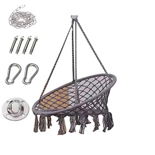 Swing Chair Hanging Chair with Soft Cushion & Durable Hanging Hardware Kit, Comfortable Macrame Hammock,Sturdy Hanging Chairs, for Indoor, Outdoor, Home, Patio, Yard, Garden (Grey)