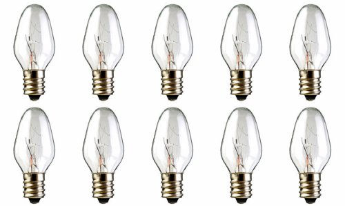 10-Pack Replacement for 15 Watt Scentsy Bulb, fits Nightlight-Style Plug-in Scented Wax Warmer Diffuser, 15W 120 Volt