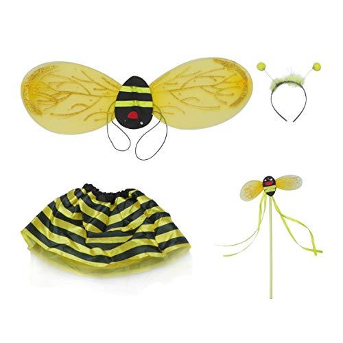 Amosfun Ape Bacchetta Ali Antenna Fascia Tutu Gonna Set Calabrone Costume Vestito Operato per Bambini Ragazze Festa di Carnevale Cosplay 3 Pezzi (Giallo)