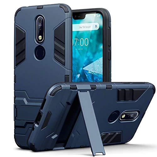 TERRAPIN, Kompatibel mit Nokia 7.1 Hülle, Silikon + Polycarbonat Tasche mit Standfunktion - Dunkelblau