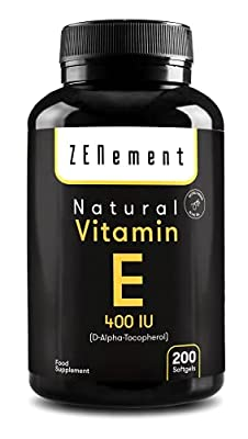 Natural Vitamin E - 400 IU (D-Alpha-Tocopherol), 200 Softgels | with Extra Virgin Olive Oil | Antioxidant and Anti-Aging | Non-GMO | by Zenement