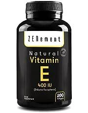 Natuurlijke vitamine E - 400 IU (D-alfa-tocoferol), 200 capsules: levering voor meer dan 6 maanden | met extra vierge olijfolie | Antioxidant en anti-veroudering | van Zenement