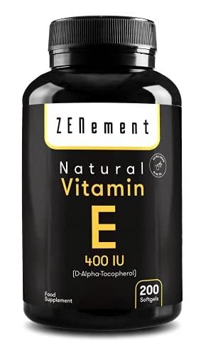 Vitamina E Naturale - 400 IU (D-alfa-tocoferolo), 200 Capsule Sofgel: Fornitura per più di 6 mesi | con Olio Extravergine di Oliva | Antiossidante e Anti-invecchiamento | Non OGM | di Zenement
