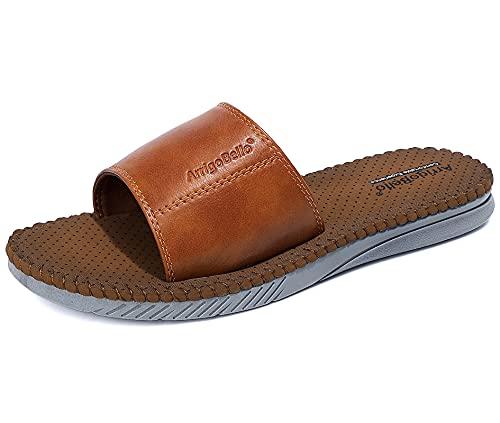 ARRIGO BELLO Chanclas de Playa y Piscina Hombre Verano Interior Baño Sandalias Antideslizante ligero Suave Zapatillas Talla 41-46 (Amarillo, Numeric_45)