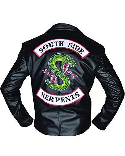 Shop House Riverdale Southside Serpents Chamarra para Hombre en Piel sintética (XXS-5XL) Jughead Jones Chaqueta, Riverdale Cosplay, Southside Serpents Disfraz Negro Negro (XX-Small