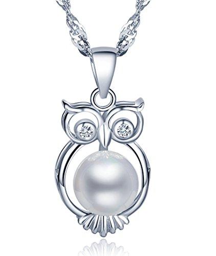 Unendlich U Unique 925 Sterling Silber Damen Halskette Eule 8mm Perle Anhänger Perlenkette