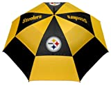 Team Golf NFL 62' Golf Umbrella with Protective Sheath, Double Canopy Wind Protection Design, Auto Open Button, Pittsburgh Steelers