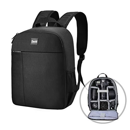 Zecti - Mochila profesional para cámara réflex digital, resistente a los golpes, resistente al agua, para cámara de fotos, compatible con Nikon, Sony, Canon y accesorios SLR, color negro