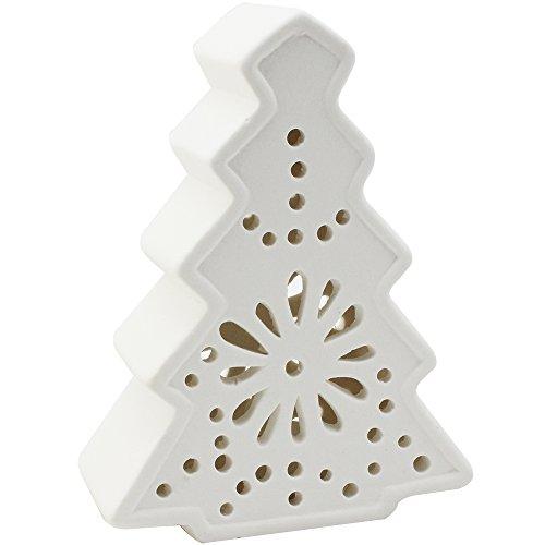 COM-FOUR® LED keramische lantaarn in kerstboomontwerp - LED-kaars voor Kerstmis - Kerstdecoratie (01 stuk - keramische kerstboom)