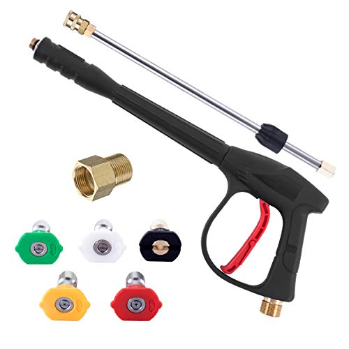 ZHJJ Pressure Washer Gun with Replacement Extension Wand, M22 Adapter kit, Quick Connect Fitting, 5 Nozzle Tips, 31 Inch, 4000 PSI