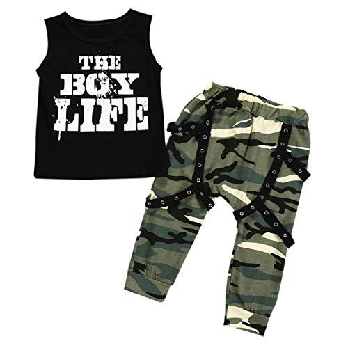 Julhold Zomer Kid Peuter Baby Jongen Mode Letter Vest Tops+ Losse Camouflage Broek Katoen Outfits Set 0-24 Maanden