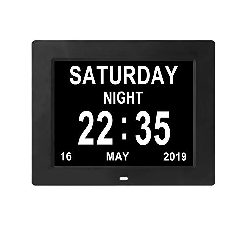 [Remote Control] Digital Day Calendar Clock 12 Alarms Auto-Dim Options Non-Abbreviations Day & Month Electronic Dementia Alzheimer Vision Impaired Memory Loss Desk Wall Clock