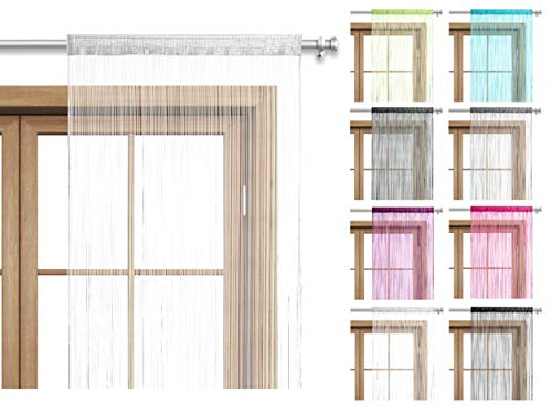 Fadenvorhang Türvorhang 90x245 Stangendurchzug Schlaufe - waschbar (weiß)